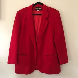 🌟CASABLANCA Vintage Wool Blazer Red Boxy Cut 12